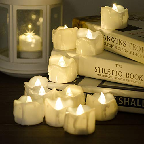 Timer Candles, 12pcs PChero Battery Operated LED Decorative Flameless Candles Flickering Tea Light, 6 Hours On and 18 Hours Off Per Cycle, Perfect for Birthday Wedding Party Home Decor - [Warm White] by PChero (Image #2)