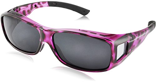 TINHAO Polarized Solar Shield Fitover Sunglasses for Women- Wear Over Prescription Glasses with Purple leopard - Fit Which Regular Sunglasses Over Glasses