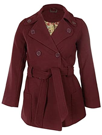 Amazon.com: Jou Jou Juniors' Wool Blend Belted Peacoat (L, Wine ...