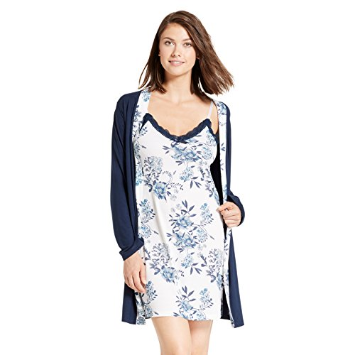 Kathy Ireland Womens Lace Trim Chemise Nightgown   Belted Wrap Robe Sleepwear  Set ca300e29c