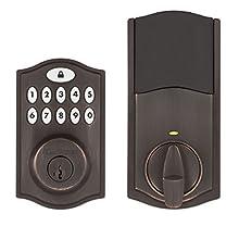 Kwikset SmartCode 914 Keypad Smart Lock (Amazon Key Edition – Amazon Cloud Cam required), Compatible with Alexa, featuring SmartKey in Venetian Bronze