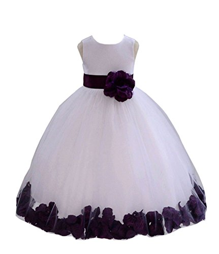 White Tulle Floral Rose Petals Formal Flower Girl Dresses Bridal Gown 302S 14 -