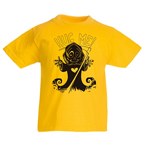 T Shirts for Kids The Death is Coming! Halloween Skeleton Clothes, Evil Skull Sickle (12-13 Years Yellow Multi Color)