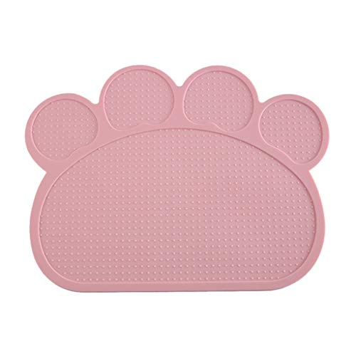 (Tpingfe Silicone Pet Feeding Mat Non Slip Pet Food Placemat for Dog Cat (Pink))