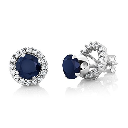 2.00 Ct Round 6mm Blue Sapphire 925 Sterling Silver Gemstone Stud Halo Earrings
