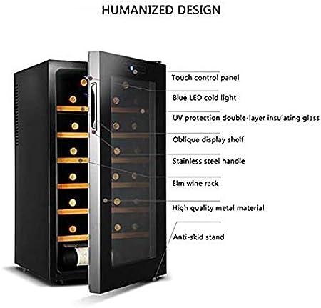 LUUDE Wine Cooler Frigorífico, Temperatura y Humedad constantes gabinete del Vino, Negro, 28 Botellas (6 estantes, 1 de Puerta),Beech