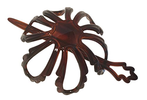 Parcelona French Floral Wavy Petal Tortoise Brown Shell Cellulose Chignon Ponytail Holder Hair Slider Pin Thru Hair Updo Bun Cover Cap with - Petals Swirl