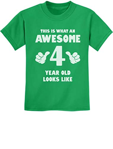 TeeStars - This is What an Awesome 4 Year Old Looks Like Funny Kids T-Shirt 4T Green