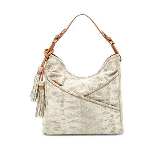 Sondra Roberts Womens Snake Embossed Hobo Bag Natural OS ()