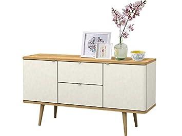 Loft24 Anne Sideboard Kommode Anrichte Schrank Schubladenschrank Wohnzimmer  Skandinavisches Design Retro Weiß Eiche
