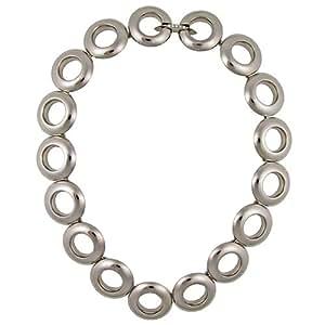Diamond Iberica - Collar círculos titanio pulido con 5 brillantes total 0,07 quilates (42 cm)