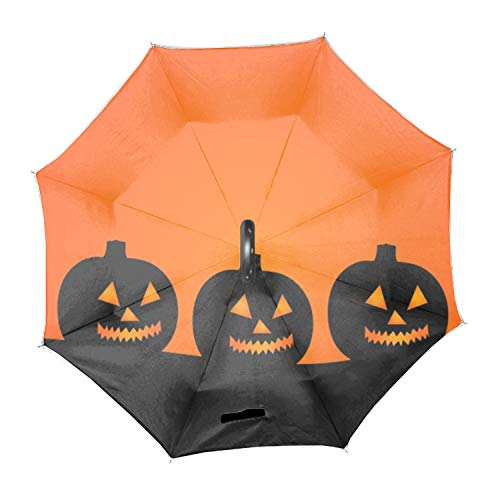 Halloween Illustration Reverse/Inverted Double-Layer Waterproof Straight Umbrella Inside-Out for Car Use