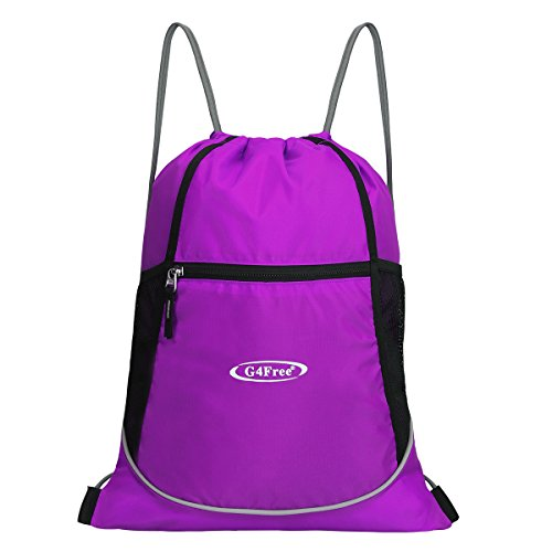 G4Free Water Repellent Gymbag Large Drawstring Sackpack Sports Backpack With Practical Pockets (Purple)