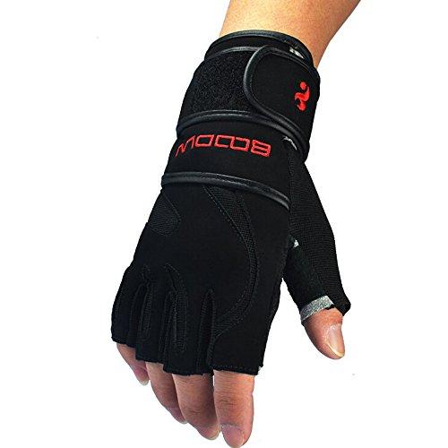 Ezyoutdoor Unisex Black Lengthened Wrist Half Finger Fitness Glove Biking Bicycle Gloves for Exercise Outdoor Sports Riding Racing (Medium)
