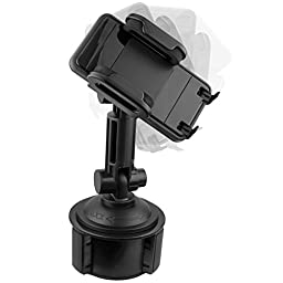 Mediabridge Smartphone Cradle with Extended Cup Holder Mount - Car Mount for iPhone 7/6s/6s Plus/6/6 Plus/5s, Samsung S6/S5/Note 3/Note 4 - Fits Phone Widths of 2\