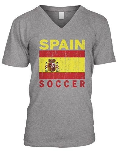(Amdesco Men's Spain Soccer, Flag of Spain, Futbol Football V-Neck T-Shirt, Heather Gray Medium)