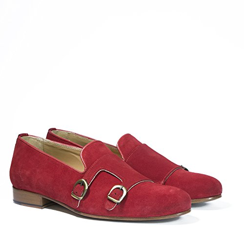 Madò Scarpe Artigianali Uomo Doppia Fibbia di Colore Rosso Calzature Italiane 100% Vera Pelle Loafer Shoes Double Monkstrap Made in Italy