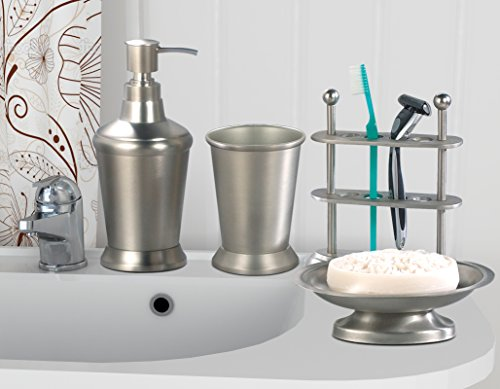 nu steel NuSteel Collection Set/4 Lotion Rosemont set/4-Soap Dish,TBH,Tumbler,Soap (Rosemont Collection)