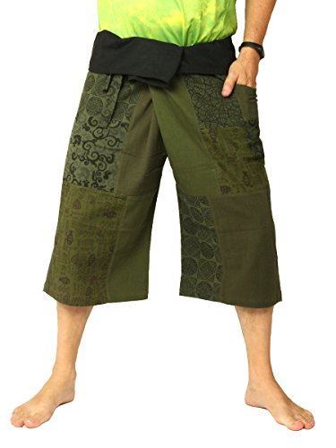 jing shop Men's Thai Fisherman Wrap Pants Short Patchwork Olive Green