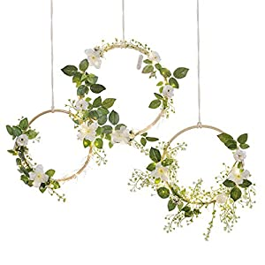 Ling's moment Summer Greenery Wedding Handcrafted Vine Wreaths Set of 6, Christmas Decor Rustic Wedding Backdrop, Artificial Roses Plant Flower Garland, Woodland Wedding Decoration Floral Hoop 3