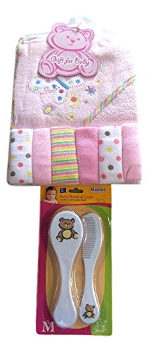Baby Bath-time Gift Set with Baby Brush, Comb and Pacifier (Pink) from BM&M Products