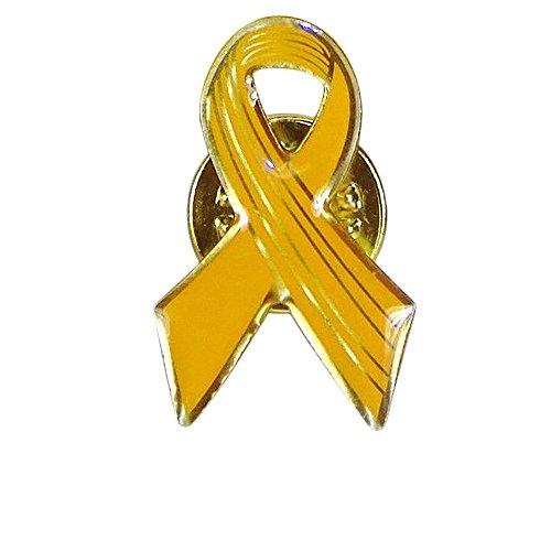 Closeoutservices Yellow Awareness Ribbon Lapel Pins, Cancer Awareness Hope Ribbon Pin - Enamel on Gold Tone Metal.