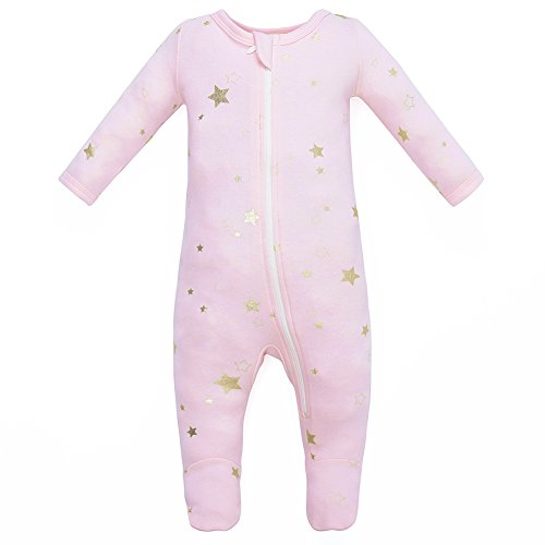 Owlivia Organic Cotton Baby Boy Girl Zip Front Sleep 'N Play, Footed Sleeper, Long Sleeve (Size 0-18 Month)(0-3Months,Pink Metallic Star)