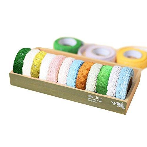 Border Cotton Fabric (RuiXiang 8pcs Cotton Lace Fabric White Crochet Lace Roll Ribbon Knit Adhesive Tape Sticker Craft Decoration Fabric)