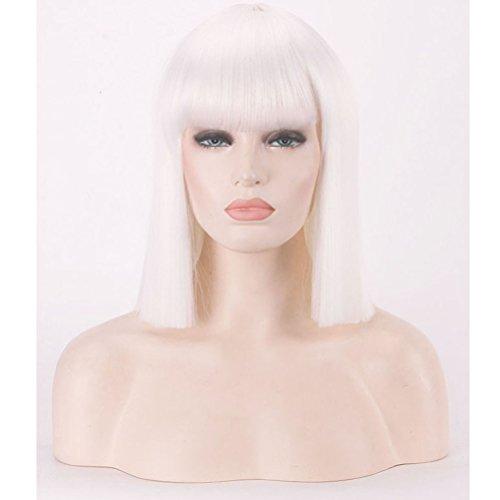 BERON 14''Straight Bob Wig Shoulder Length Natural Flat Bang Wig with Free Wig Cap (White)