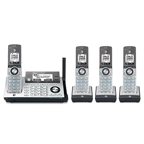 (AT&T CLP99486 DECT 6.0 cordless phone with Bluetooth Connect to Cell, answering system with dual caller ID, silver with 4 handsets)