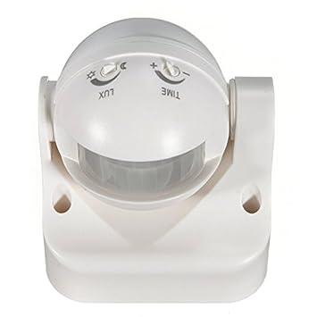PhilMat Detector exterior sensor de movimiento pir la seguridad de 180 grados cambiar blanco