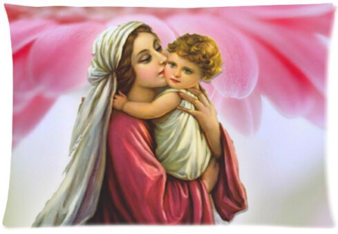 Pillowcase Pillow Cover Virgin Mary Zippered Pillow Protector 20x30 inch (one side) ()
