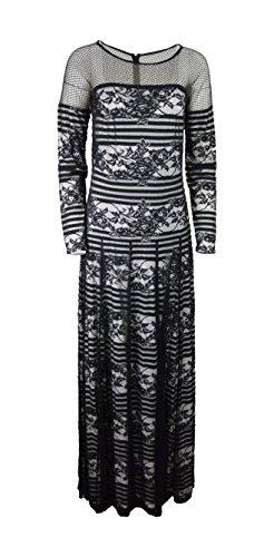 Tadashi Shoji Women's Floral Stripped illusion Evening Dress gown (Tadashi Pleated Dress)