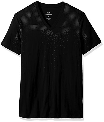 A|X Armani Exchange Men's AX Fade Logo V Neck, Black, - Logo Armani Exchange