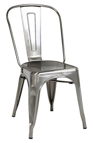WE Furniture Stackable Metal Cafe Bistro Chair, Gun Metal Silver