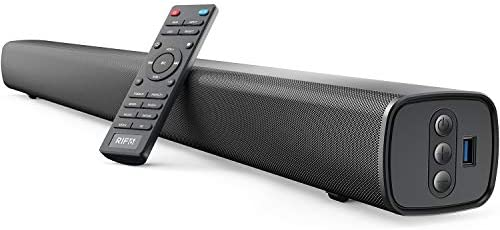 RIF6 Sound Bar – 35 Inch Residence Theater TV Soundbar with LED Show, Twin Constructed-in Subwoofers and 4 Equalizer Settings – Connects to Bluetooth, HDMI, AUX, RCA and USB
