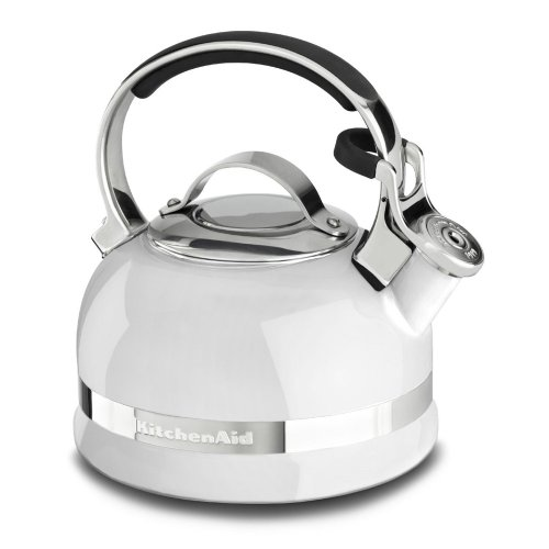 KitchenAid KTEN20SBWH 2.0-Quart Kettle with Full Stainless Steel Handle and Trim Band - (White Stove Top Kettle)