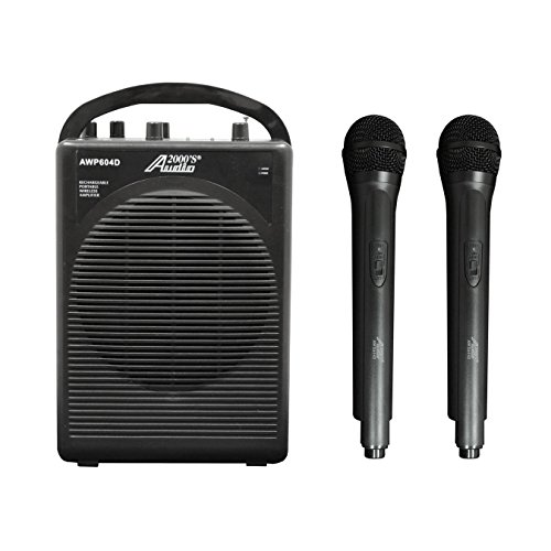 Audio 2000s Dual Channel Wireless Microphone Portable PA System AWP604D (Microphone Dual Channel Rechargeable Wireless)