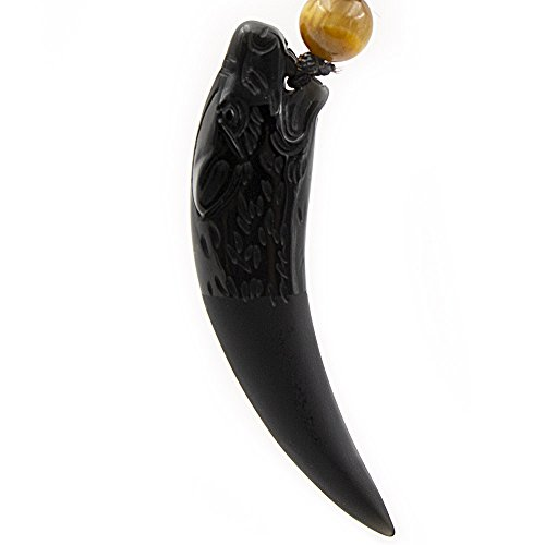 GeniuR Fashion Jewelry Wolf Tooth Amulet Necklace Carved by Ice Obsidian Gemstone Wolf Head Pendant with Chain Rope (Black)