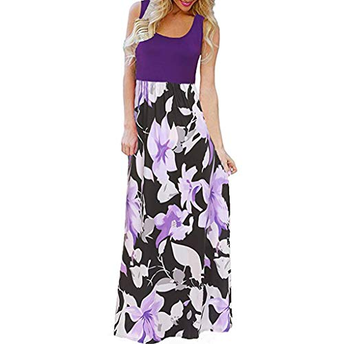 Women's Sleeveless Boho Floral Print Dresses, AmyDong Summer Tank Top Splicing Sundrss Beach Long Maxi Dress