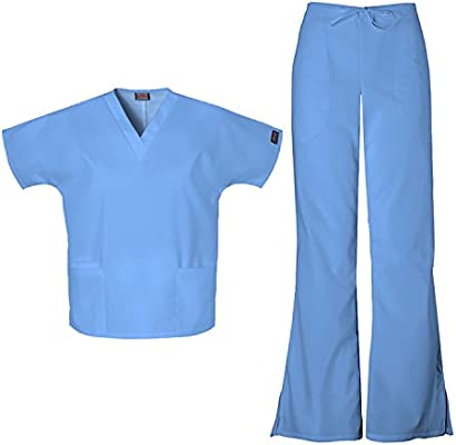 Cherokee Workwear Women/'s 4700 V-Neck Scrub Top//4101 Drawstring Scrub Pant Set