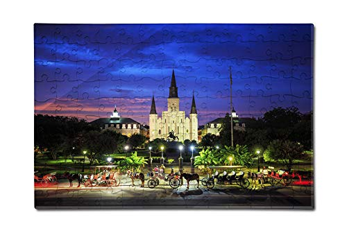 New Orleans, Louisiana - Saint Louis Cathedral and Jackson Square - Photography A-95714 95714 (12x18 Premium Acrylic Puzzle, 130 Pieces)