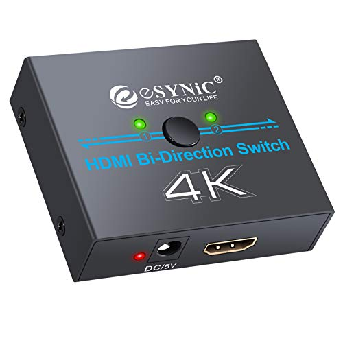 - ESYNIC 4K HDMI Bi-Directional Switch 2 in 1 Out or 1 in 2 Out HDMI Splitter with USB Cable External Power Support 4K 3D HD 1080P for HDTV Blu-Ray DVD Satellite DVR Xbox PS3/4