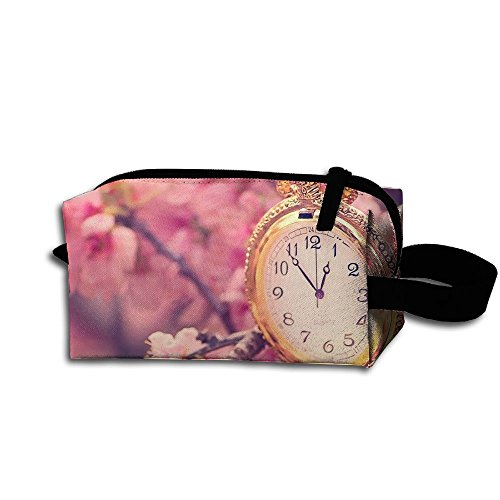 Makeup Cosmetic Bag Cherry Blossom And Pocket Watch Medicine Bag Zip Travel Portable Storage Pouch For Mens Womens (Kansas City Pocket Watch)