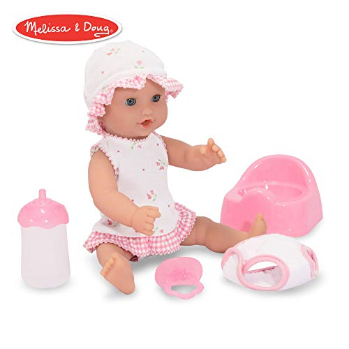Melissa & Doug Mine to Love Annie 12-Inch Drink & Wet Doll (Pretend Play, Poseable Baby Doll, Charming Clothing & Accessories)