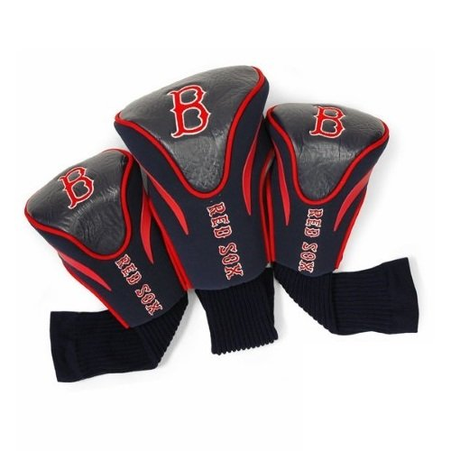 Team Golf MLB Boston Red Sox Contour Golf Club Headcovers (3 Count), Numbered 1, 3, & X, Fits Oversized Drivers, Utility, Rescue & Fairway Clubs, Velour lined for Extra Club Protection