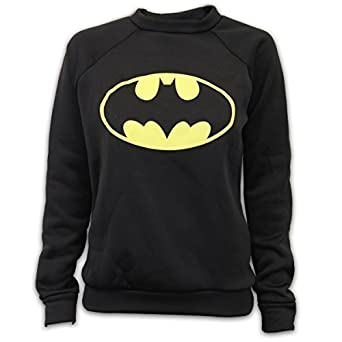 ca37bc50dce000 Damen Sweatshirt Oberteil Pullover Batman Superman Logo Aufdruck Fleece  Freizeit New - M L