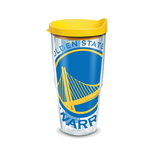Nba Travel Mug - Tervis 1126914 NBA Golden State Warriors Colossal Tumbler with Wrap and Yellow Lid 24oz, Clear