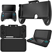 Hand Grips for NEW Nintendo 2DS XL with Silicone Case, AFUNTA Plastic Handle with Anti-slip Protective Cover for 2DS LL - Black