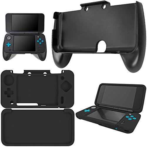 AFUNTA Hand Grips Compatible New Nintendo 2DS XL with Silicone Case, Plastic Handle with Anti-Slip Protective Cover Compatible 2DS LL - Black
